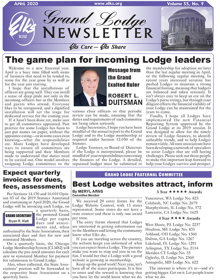 Grand Lodge Newsletter