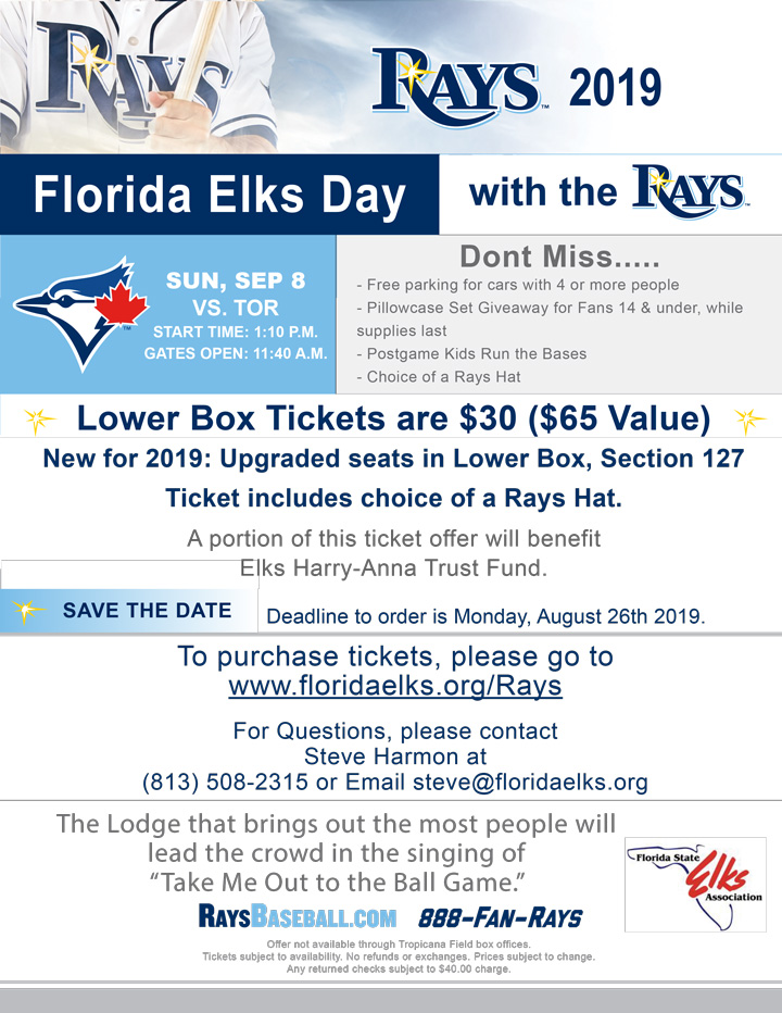 2019 FL Elks Day at the Rays