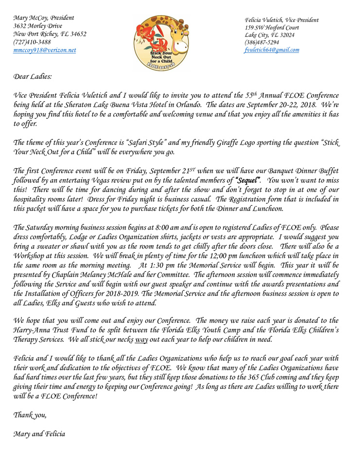 55th Annual FLOE Conference Welcome Letter