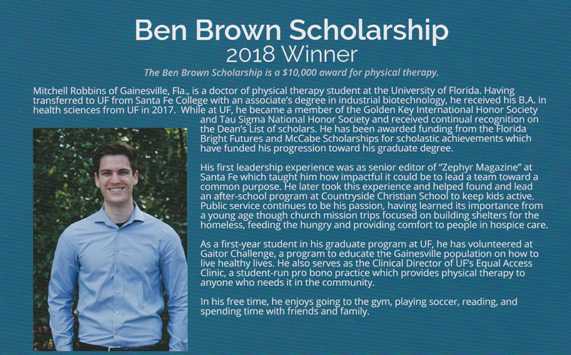 2018 Ben Brown Scholarship Winner
